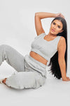 Grey Crop Top & Joggers Set - Erin