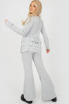 Grey Triple Layered Frill Ribbed Co-ord Suit - Nora