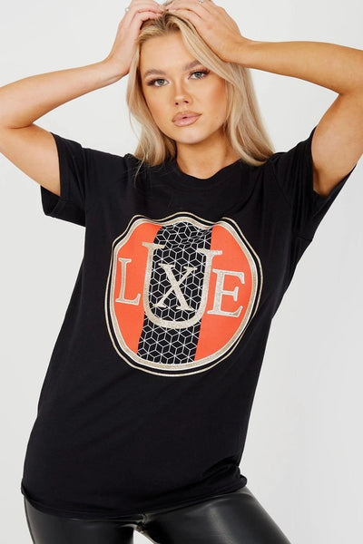 Black Glitter LUXE Graphic Printed T-Shirt - Hazel