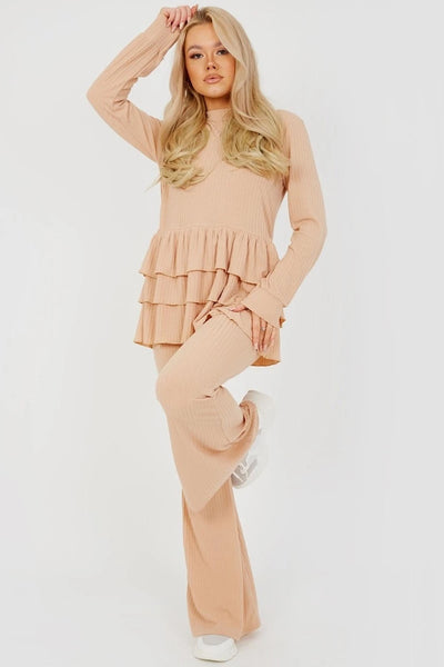 Beige Triple Layered Frill Ribbed Co-ord Suit - Nora