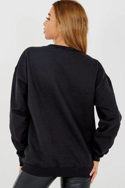 Black Liberte Embroidered Sweatshirt Jumper - Georgia