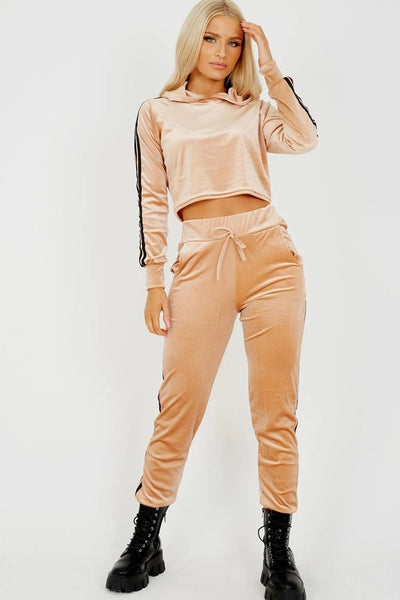 Stone Striped Velour Cropped Tracksuit - Aviana