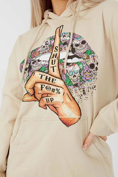 Stone Shut Up Graphic Fleeced Hoodie - Summer