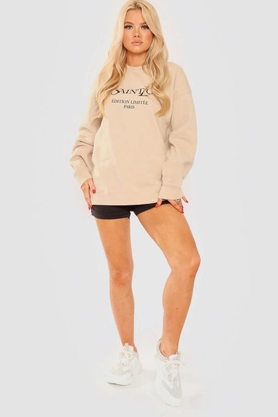 Beige Ye Saint Love Print Sweatshirt Jumper - Alice