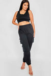 Black Crop Top & Joggers Set - Erin