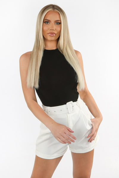 Black Round Neck Ribbed Bodysuit -  Hana
