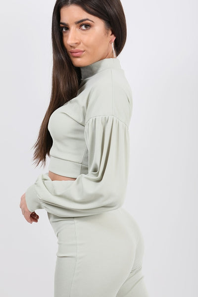 Light Green Ribbed Balloon Sleeve Top & Trouser Co-ord - Amana