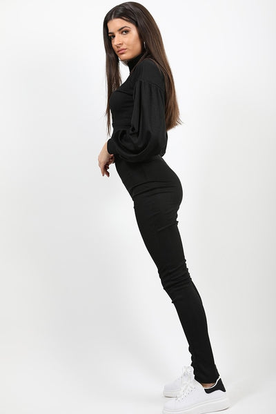Black Ribbed Balloon Sleeve Top & Trouser Co-ord - Amana