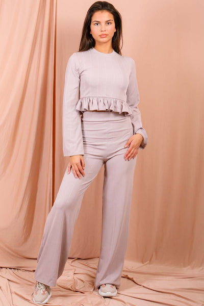 Grey Ribbed Frill Hem Top & Trouser Co-ord - Sierra