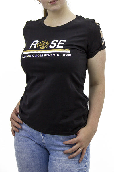 Black 'Romantic Rose' Slogan T-shirt - Rose
