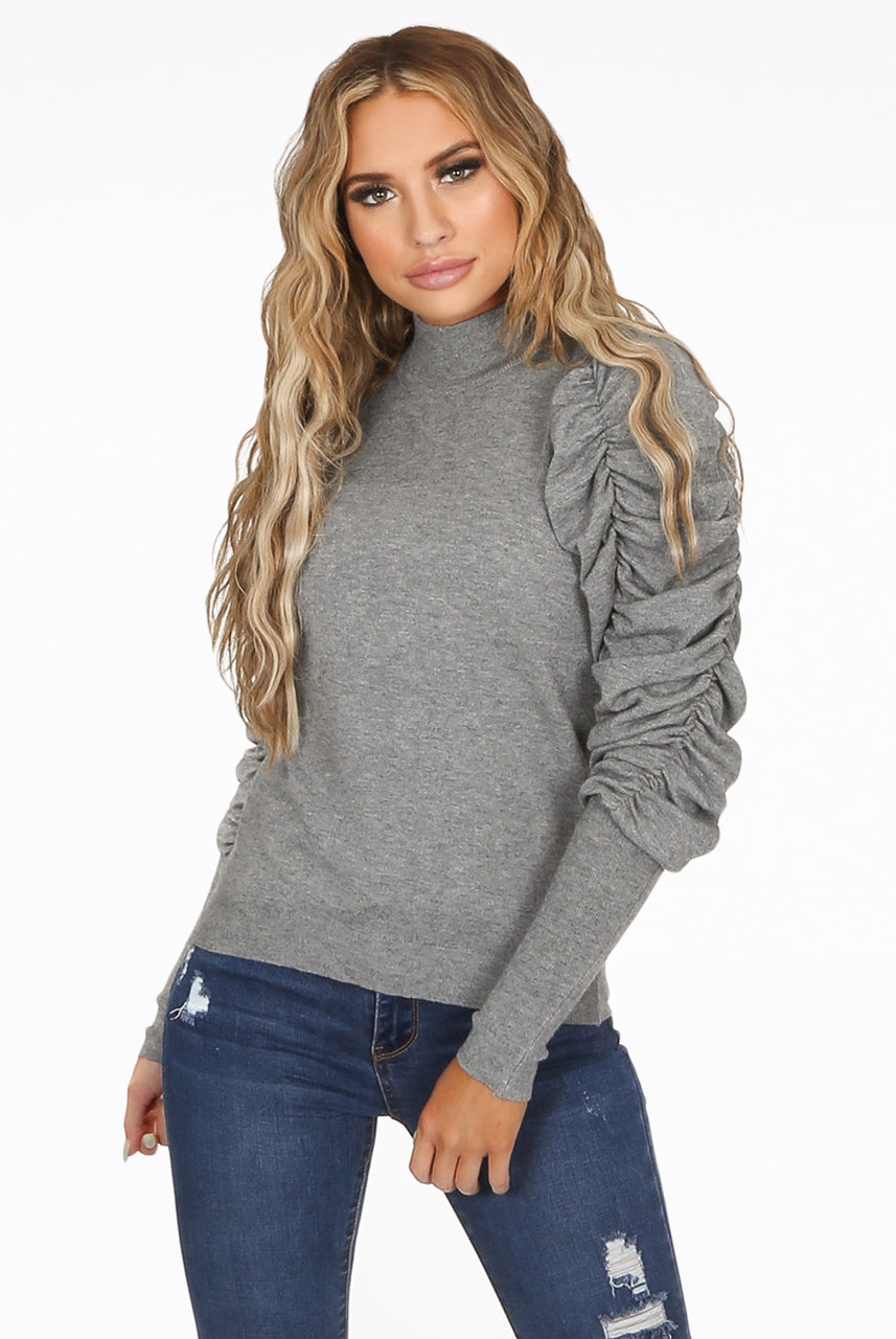Back in Stock Grey Ruched Sleeve Knitted Jumper - Makenna