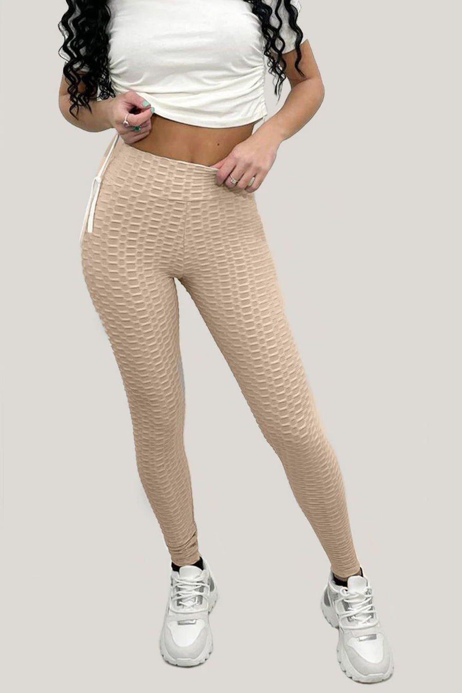Sand Ruched Textured Active leggings - Daniella