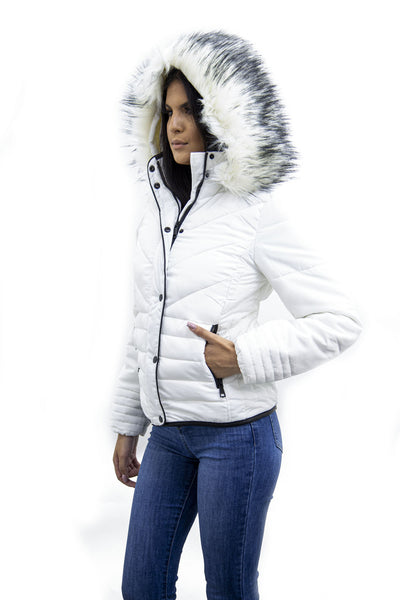Off White Faux Fur Hood Puffer Jacket - Serena