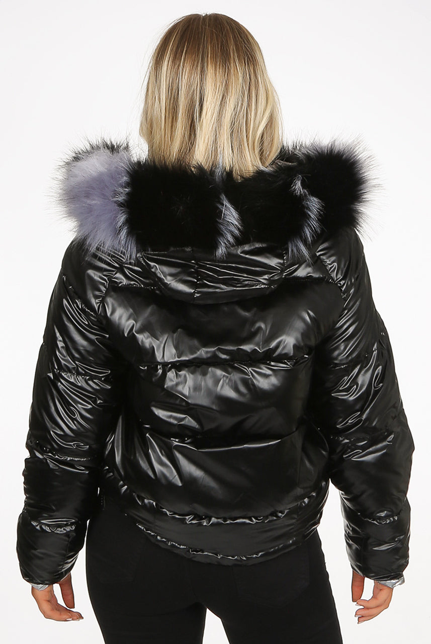 Black Lux Faux Fur Hood Quilted Jacket - Royalty