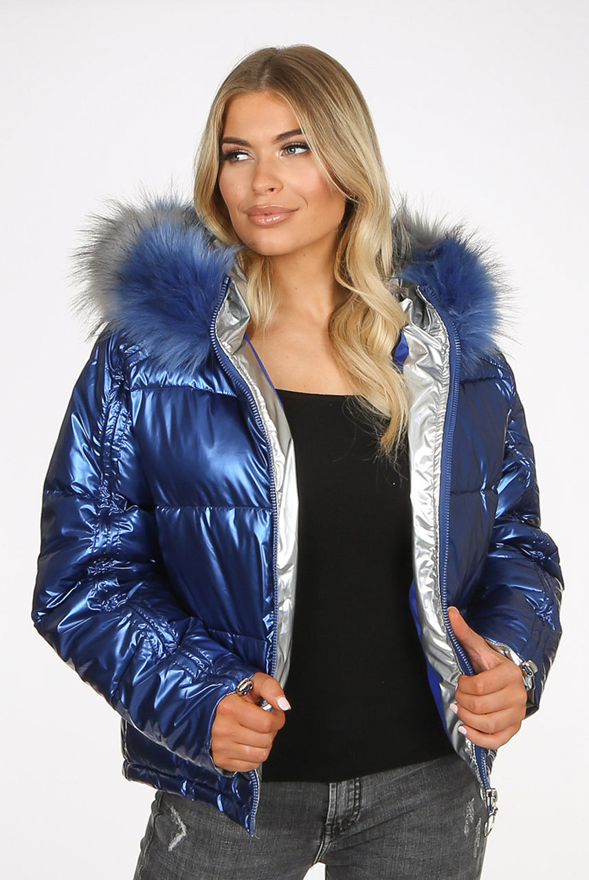 Blue Electric Lux Faux Fur Hood Quilted Jacket - Royalty