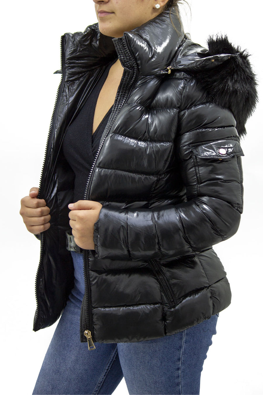 Shiny Black Faux Fur Hood Puffer Quilted Jacket - Jade