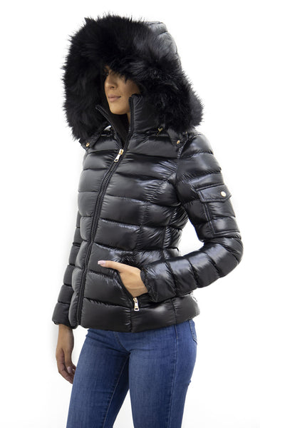 Black Shiny Black Faux Fur Hood Quilted Puffer Jacket - Jade
