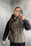 Olive Green Short Sliver Button Padded Gilet -Jordan