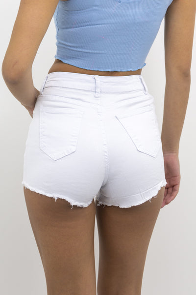 White 3 Button Denim Mid Rise Frayed Hotpants - Alexa