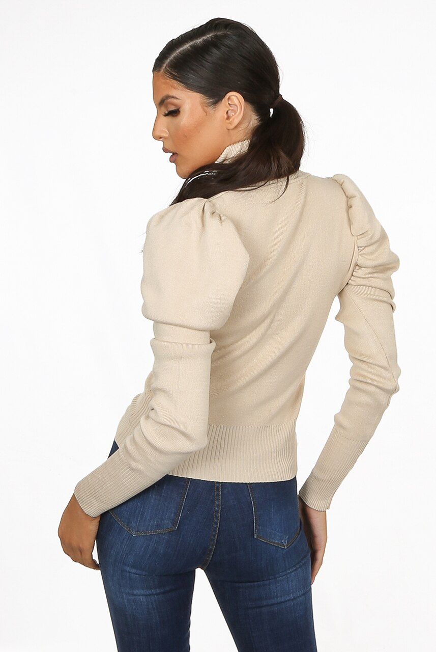 Beige Puff Sleeve High Neck Jumper - Camila