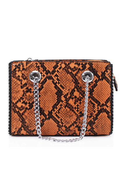 Orange Reptile Textured Print Shoulder Bag - Stephanie