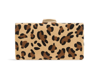 Leopard Print Fibre Hard Case Clutch Bag - Sawyer