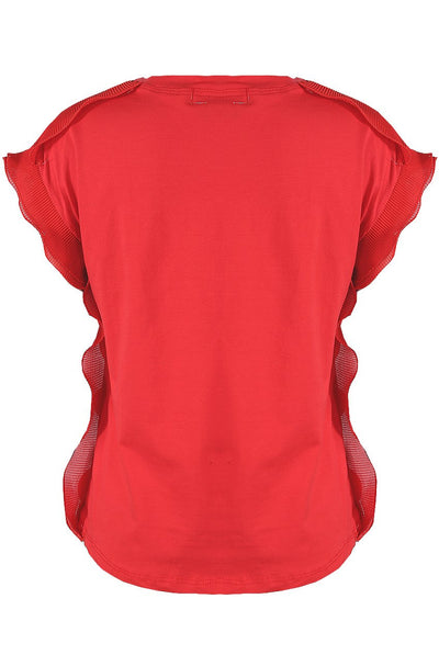 Red Bow Trim Side Frill Top - Anna - Storm Desire