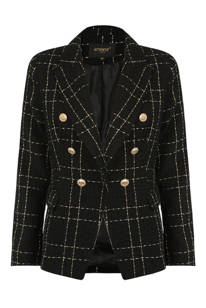 Black Knitted Check Pattern Double Breast Blazer - Annabelle - storm desire