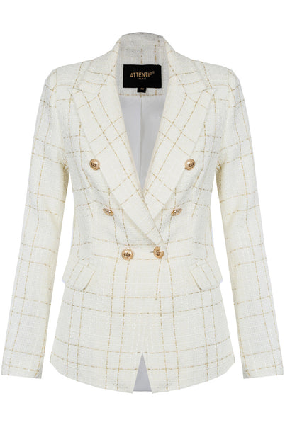 Cream Knitted Check Pattern Double Breast Blazer - Annabelle - storm desire