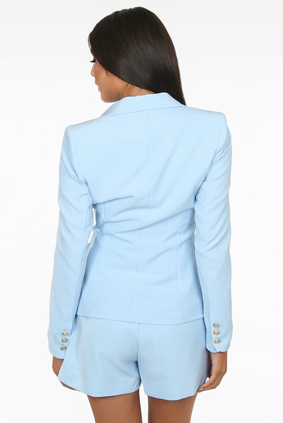 Baby Blue Golden Button Double Breast Blazer - Sofiah
