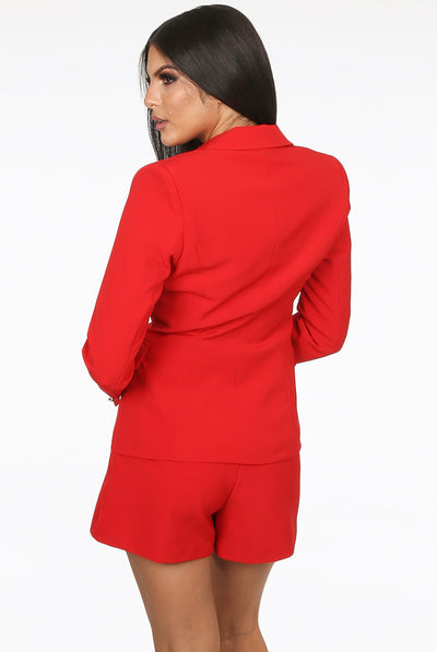 Red Golden Button Double Breast Blazer - Sofiah