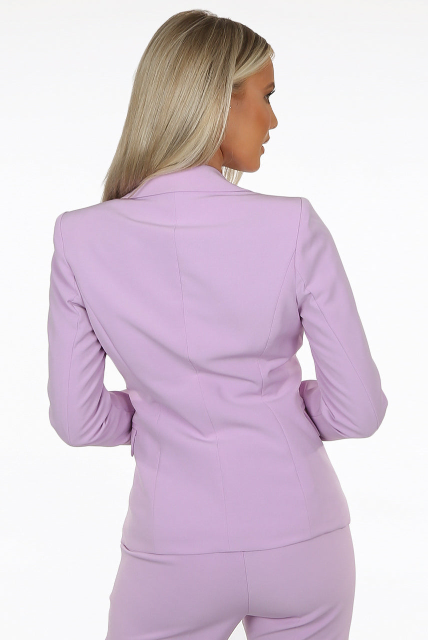 Lilac Golden Button Double Breast Blazer - Sofiah