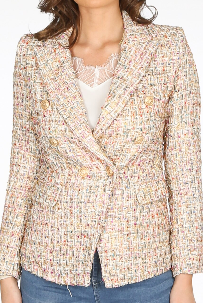 Boucle Tweed Double Breast Gold Button Blazer Jacket - Mora
