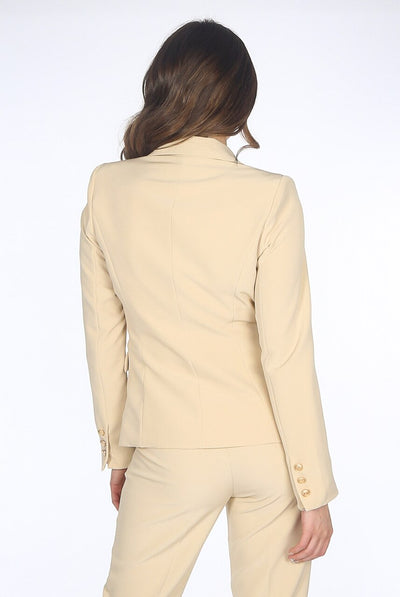 Beige Golden Button Double Breast Blazer - Eden