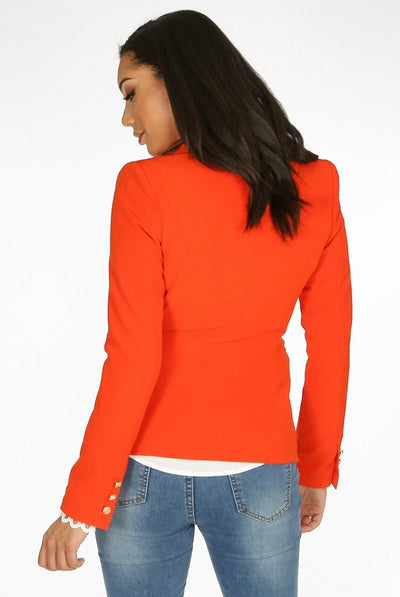Orange Golden Button Double Breast Blazer - Eden