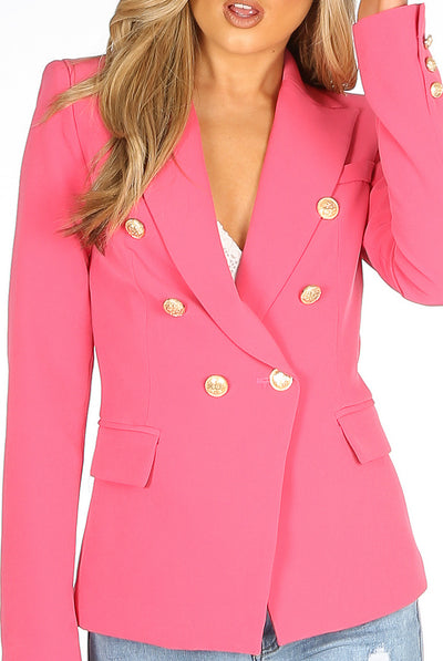 Pink Golden Button Double Breast Blazer - Sofiah