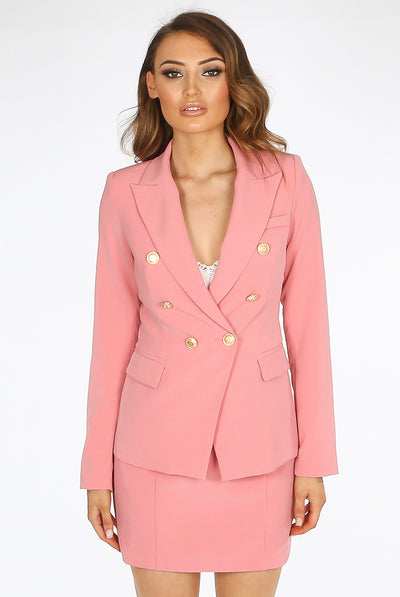 Dusky Pink Golden Button Double Breast Blazer - @ellieeewbu