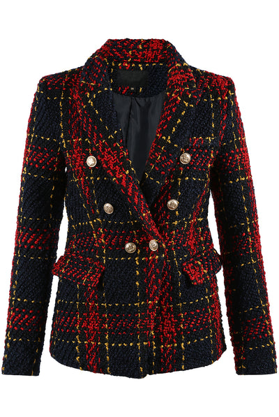 Knitted Check Pattern Double Breast Blazer - Annabelle - Storm Desire