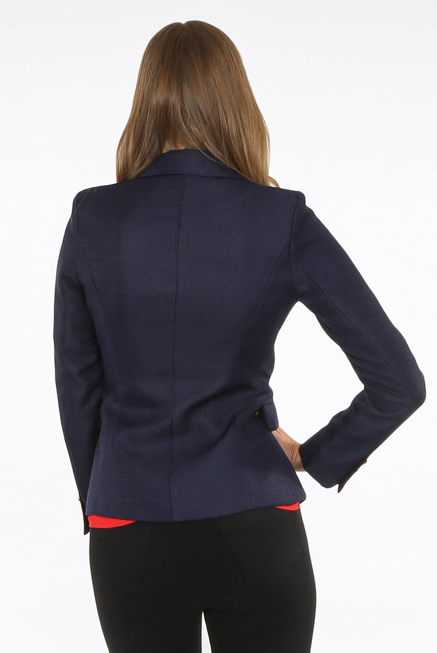 Navy Blue Double Breast Hopsack Blazer - Maria