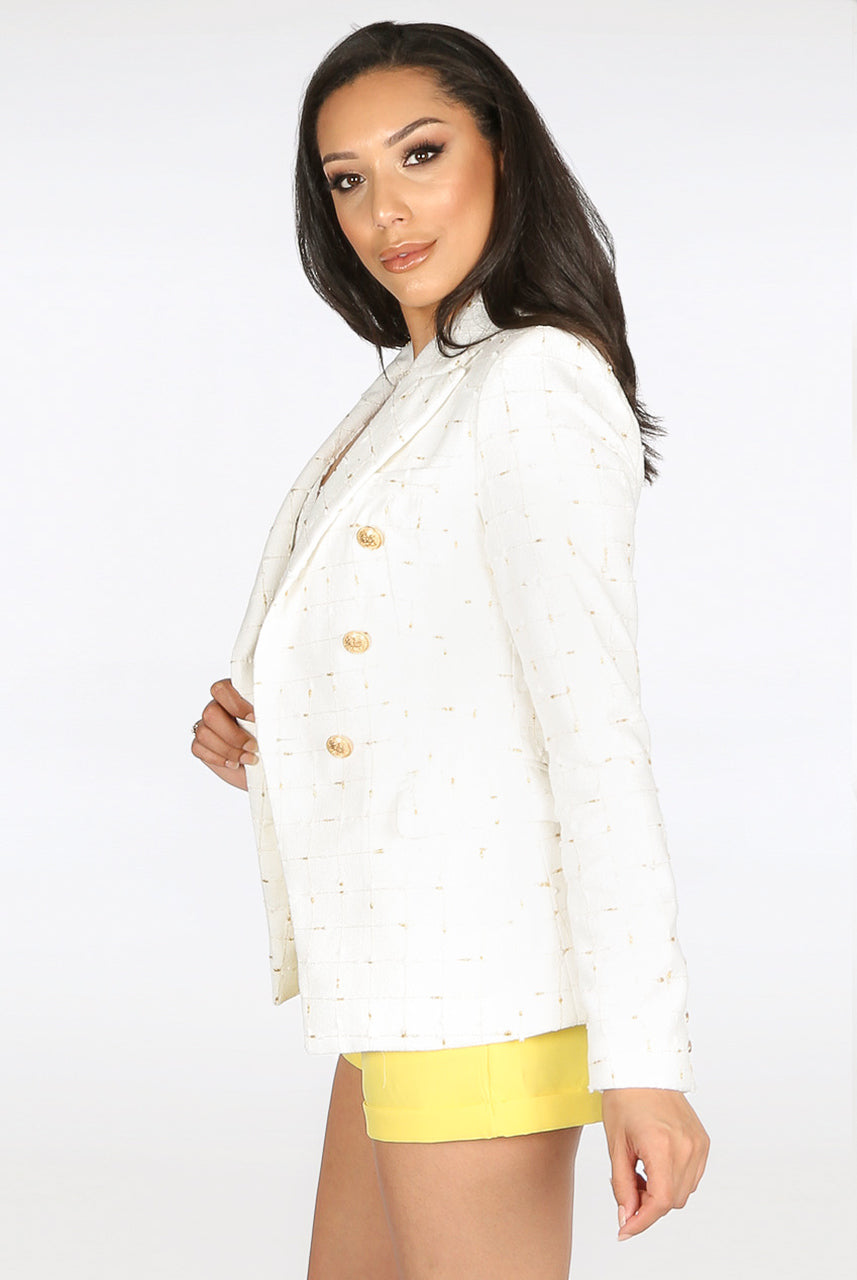 Cream Knitted Check Pattern Double Breast Blazer - Giselle - storm desire