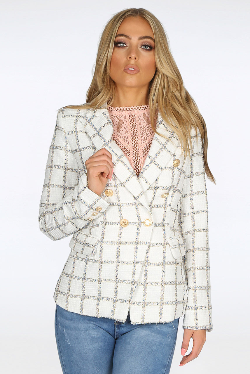Cream Metallic Thread Double breast Check Blazer Jacket - Diana - storm desire