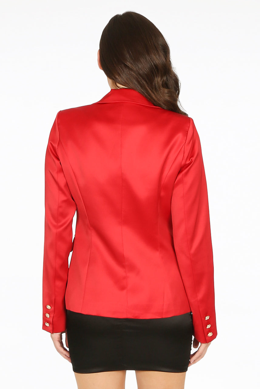 Red Satin Golden Button Blazer - Melissa
