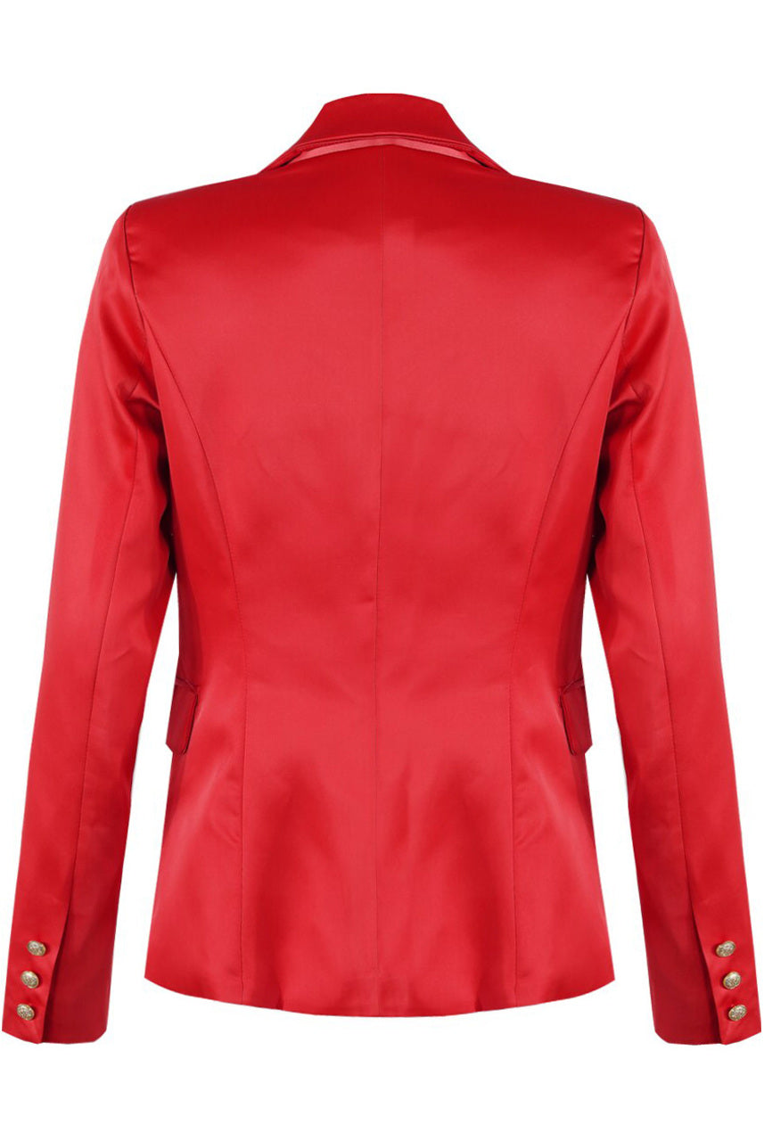 Red Satin Golden Button Double Breast Blazer - Michaela
