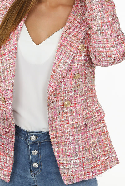Pink Knitted Check Pattern Double Breast Blazer - Mora