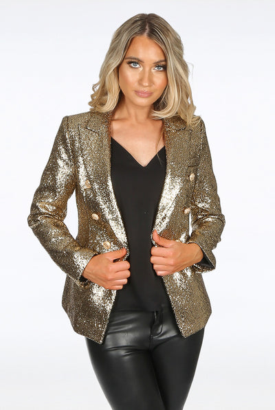 Gold Foil Textured Double Breast Blazer - Juliette