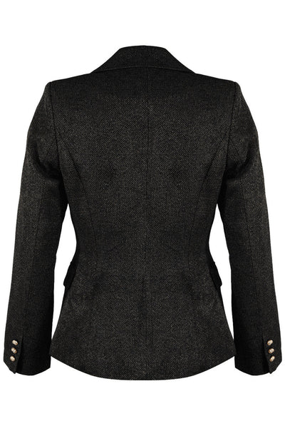 Black Double Breast Hopsack Blazer - Maria