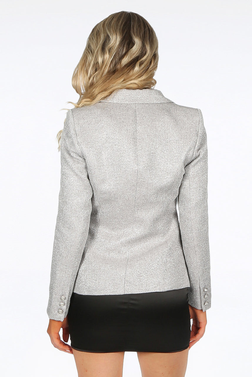Silver Double Breast Hopsack Blazer - Maria