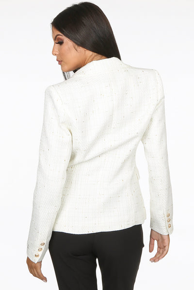 Cream Thread Pattern Double Breast Blazer - Olive
