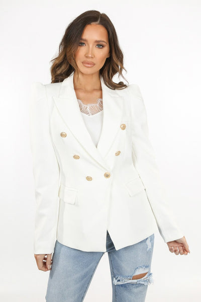 Cream Puff Sleeve Double Breast Blazer - Fern
