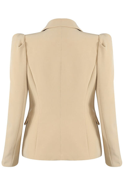 Beige Puff Sleeve Double Breast Blazer - Fern